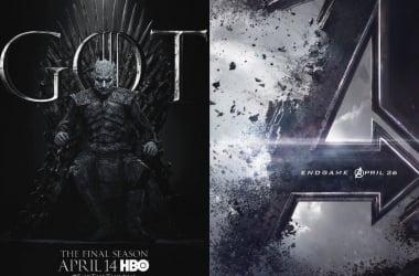 Afiches promocionales de Game of Thrones y Avengers Endgame. Fotografía de Reddit