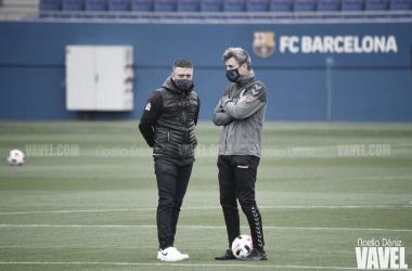 García Pimienta, ante el Llagostera en el Johan Cruyff. Foto: Noelia Déniz.