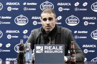 Gaizka Garitano en la rueda de prensa posterior al partido frente a la Real Sociedad Fuente: RC Deportivo