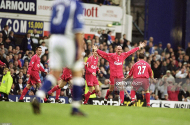 16 Apr 2001: Gary McAllister of Liverpool celebrates his dramatic last minute goal during the FA Carling Premiership match against Everton played at Goodison Park, in Liverpool, England. Liverpool won the match 3-2. \ Mandatory Credit: Clive Brunskill /Allsport