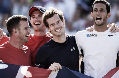 Team GB celebrate after their victory over France ( Image source:http://www.sportinglife.com/tennis/news/article/553/9991183/davis-cup-great-britain-v-australia-player-profiles-and-statistics)