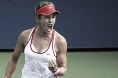 Bouchard reacted passionately to her first round win (pic courtesy of US Open twitter)