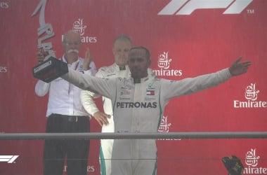 Hamilton festeggia il successo (twitter f1)