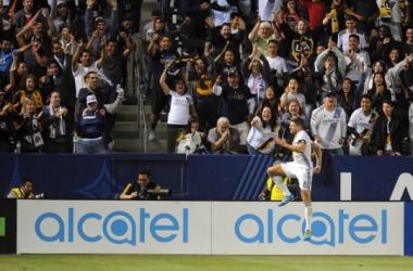 Steven Gerrard celebrates fifth Galaxy goal against Real Salt Lake. | Photo: Gary A. Vasquez/USA TODAY Sports