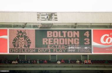 Bolton 4-3 Reading, Division One, Championship Play Off match at Wembley Stadium, London, Monday 29th May 1995. Scoreboard. (Photo by Reading Post/Mirrorpix/Getty Images)