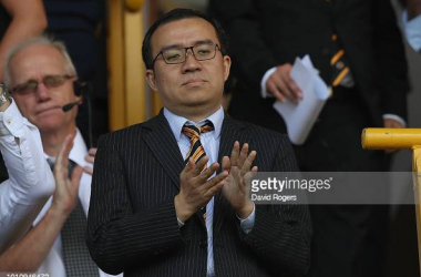 WOLVERHAMPTON, ENGLAND - AUGUST 04: Jeff Shi, Wolverhampton Wanderers executive chairman, looks on during the pre-season friendly match between Wolverhampton Wanderers and Villareal at Molineux on August 4, 2018 in Wolverhampton, England. (Photo by David Rogers/Getty Images)