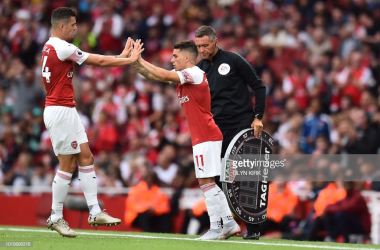 Granit Xhaka and Lucas Torreira are forming quite the partnership at Arsenal. (Photo viaGLYN KIRK/AFP/Getty Images)