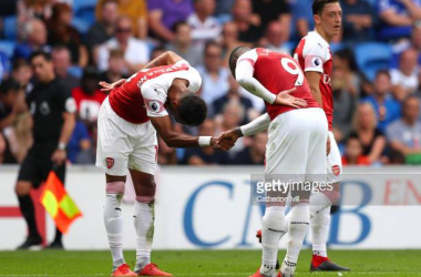 Aubameyang and Lacazette celebrate - Image Source: Getty images- Catherine Ivill