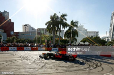 Red Bull Racing driver Patrick Friesacher does donuts during the F1 Festival at Bayfront Park on October 20, 2018 in Miami, Florida. (Photo credit: Michael Reaves/Getty Images for Red Bull)