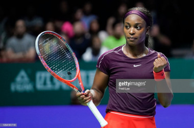 Sloane Stephens reacts to winning a point during her semifinal match against Karolina Pliskova (Fred Lee/Getty Images)