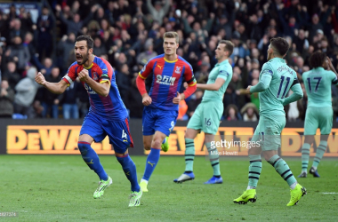Milivojevic celebrates scoring his side's second goal in their draw against Arsenal at Selhurst Park (Photo Source: Mike Hewit / Getty Images)