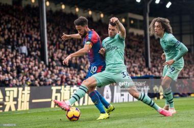 Granit Xhaka challenges Andros Townsend for possession | GettyImages- Sebastian Frey/MB Media