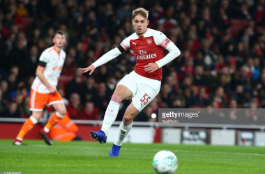 <div>London, UK, 31 October, 2018<br>Emile Smith Rowe of Arsenal<br>During Carabao Cup fourth Round between Arsenal and Blackpool at Emirates stadium , London, England on 31 Oct 2018. </div><div> (Photo by Action Foto Sport/NurPhoto via Getty Images)</div>