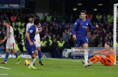 Morata celebrates scoring his and Chelsea's opening goal against Palace at Stamford Bridge (Photo Source: Richard Heathcote / Getty Images)