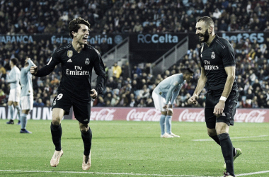 Odriozola y Benzema, felices celebrando uno de los goles del francés I Foto: Real Madrid