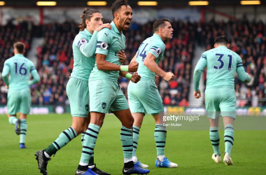 Pierre-Emerick Aubameyang celebrates scoring the winning goal for Arsenal against Bournemouth.(Photo by Dan Mullan/Getty Images)