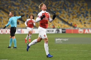 Emile Smith Rowe celebrates his goal | Source: David Price/Getty