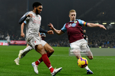 Joe Gomez is set for six weeks on the sidelines after a Ben Mee challenge fractured his leg (photo: Getty Images)