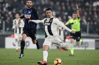 "Ronaldo in action vs Inter Milan pursued by Gagliardini.<div><a href=""https://www.gettyimages.co.uk/detail/news-photo/juventus-portuguese-forward-cristiano-ronaldo-vies-for-the-news-photo/1069460552?adppopup=true"">1069460552</a><br></div>"