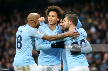 Gabriel Jesus celebrates giving Manchester City the lead in the first-half. (picture: Getty Images / Tom Flathers)