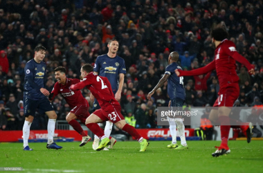 Shaqiri celebrates scoring his second and side's third goal of the game against United at Anfield (Photo Source: Clive Brunskill / Getty Images)