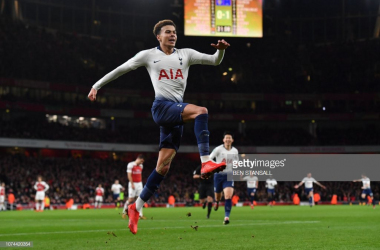 Dele Alli celebrates his goal that doubled the advantage for Spurs. (Photo: Getty Images/Ben Stansall)