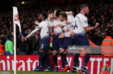 Spurs celebrate. (Photo: Getty Images/Alex Morton)