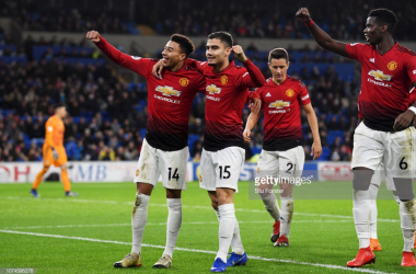 Lingard celebrates after scoring his second and his side's fifth goal against Cardiff on Satruday evening (Photo Source: Stu Forster / Getty Images)