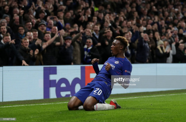 Hudson-Odoi celebrates in style as Chelsea defeat PAOK in the UEFA Europa League/Getty Images - Richard Heathcote