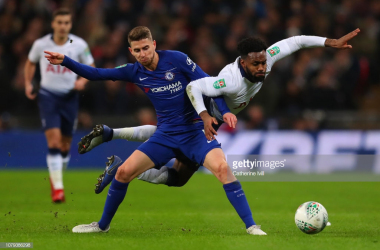 Danny Rose battles for the ball in the first leg. (Photo: Getty Images/Catherine Ivill)