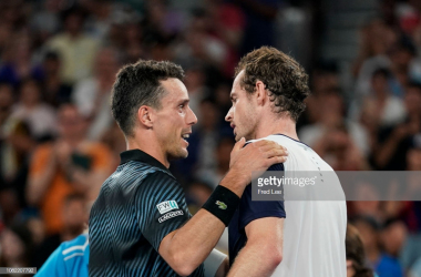 Bautista Agut and Murray share a warm handshake at the net (Fred Lee/Getty Images)