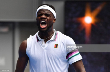 Tiafoe celebrates after his upset of Anderson/Photo: Paul Crock/Getty Images