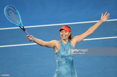 Maria Sharapova reacts to winning her match against Caroline Wozniacki (Cameron Spencer/Getty Images)
