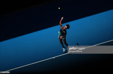 Osaka began tor really find her mark with her serve (Cameron Spencer/Getty Images)