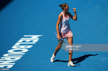 Pliskova reacts after her huge win over Williams/Photo: Cameron Spencer/Getty Images