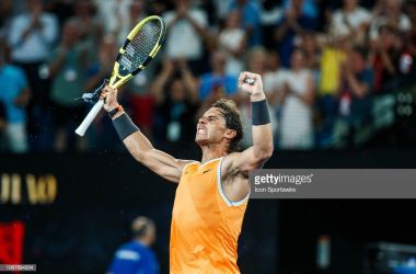 Rafael Nadal reacts to reaching another Australian Open final (Icon Sportswire/Getty Images)