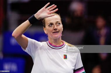 Kvitova waves to the crowd after her second-round victory/Photo: NurPhoto via Getty Images