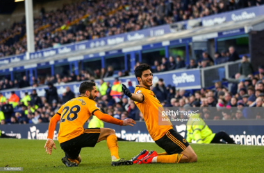 Raul Jimenez celebrates putting Wolves 2-1 up. mage from Molly Darlington/Getty Images