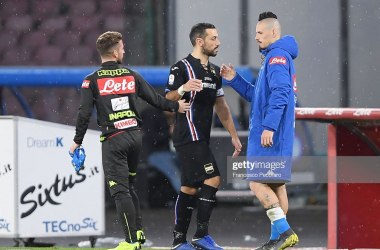 Fabio Quagliarella, Marek Hamsik and Dries Mertens congratulate each other after the match last season (Getty Images/ Francesco Pecoraro)