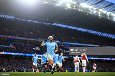 MANCHESTER, ENGLAND - FEBRUARY 03: Sergio Aguero of Manchester City celebrates after scoring his team's first goal during the Premier League match between Manchester City and Arsenal FC at Etihad Stadium on February 3, 2019 in Manchester, United Kingdom. (Photo by Tom Flathers/Man City via Getty Images)