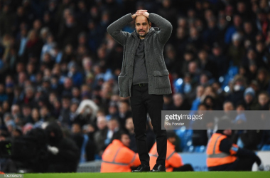 MANCHESTER, ENGLAND - FEBRUARY 03: Josep Guardiola, Manager of Manchester City reacts during the Premier League match between Manchester City and Arsenal FC at Etihad Stadium on February 3, 2019 in Manchester, United Kingdom. (Photo by Stu Forster/Getty Images)