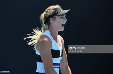 Boulter reacts during her opening round win - Photo: James D. Morgan/Getty Images