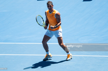 Rafael Nadal celebrates his first round win over James Duckworth (TPN/Getty Images)