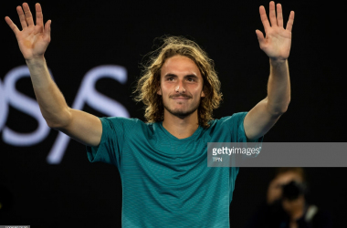 Tsitsipas acknowledges the crowd after his win over Federer/Photo: TPN via Getty Images