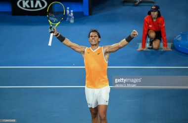Nadal celebrates after his emphatic victory in the semifinals/Photo: James D. Morgan/Getty Images