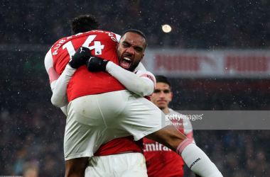 Arsenal FC v Cardiff City - Premier LeagueLONDON, ENGLAND - JANUARY 29: Alexandre Lacazette of Arsenal and Pierre-Emerick Aubameyang of Arsenal celebrate during the Premier League match between Arsenal FC and Cardiff City at Emirates Stadium on January 29, 2019 in London, United Kingdom. (Photo by Catherine Ivill/Getty Images)