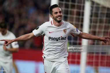 Pablo Sarabia scores for Sevilla (Image from Getty Images/Quality Sport Images)