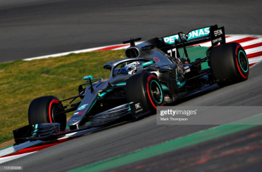 Bottas putting mileage on the new W10 in Barcelona (Photo Credit: Mark Thompson, Getty Images)