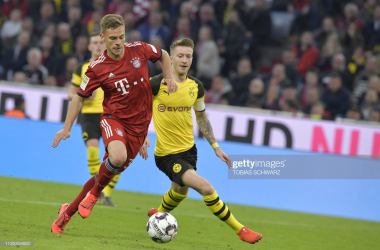 <b>Joshua Kimmich takes on Marco Reus in the last outing between the two teams.</b>