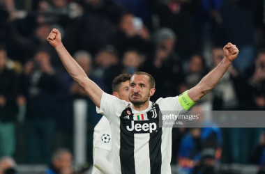 Juventus captain Giorgio Chiellini celebrates after Juve beat Atletico Madrid in last seasons UEFA Champions League (Getty Images/Claudio Villa)